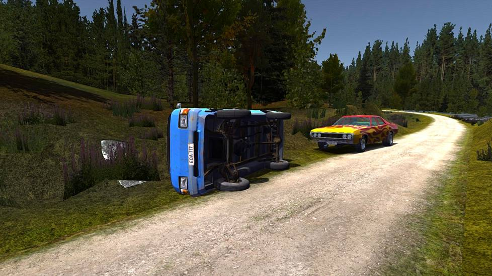 Wreck of the Toyoto Hiace lookalike van in My Summer Car