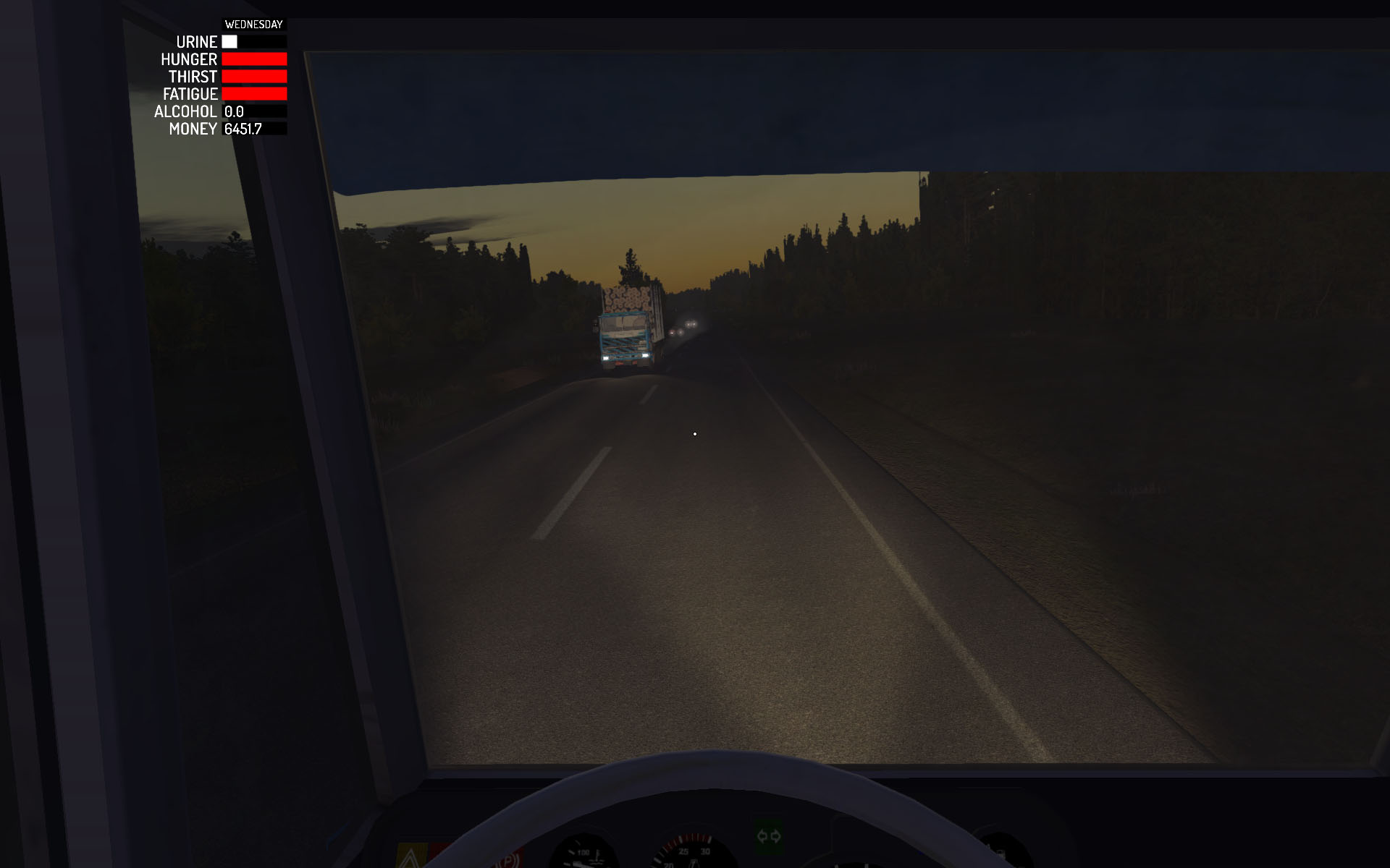Another gorgeous Finnish summer night behind the wheel of a sewage tanker truck in My Summer Car. Screenshot: Amistech