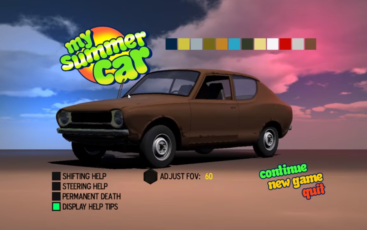 Game start screen for the Finnish My Summer Car driving simulator.