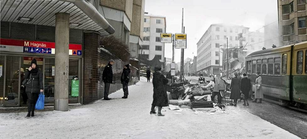 Streetscape with bombed buildings on Porthaninkatu in Hakaniemi, in the now hip neighborhoods, greater Kallio region.