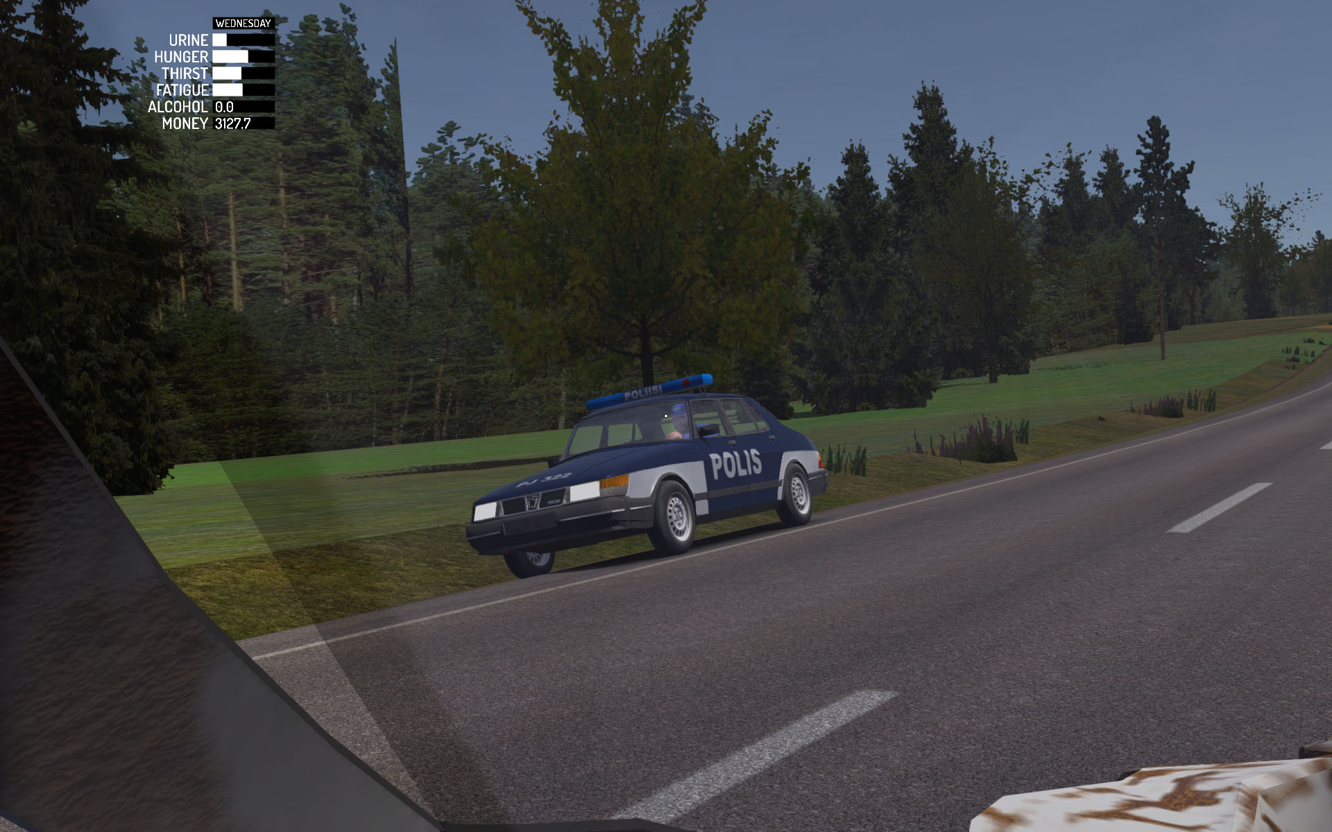 In-game screenshot of Finnish Saab 900 lookalike Police vehicle in My Summer Car.