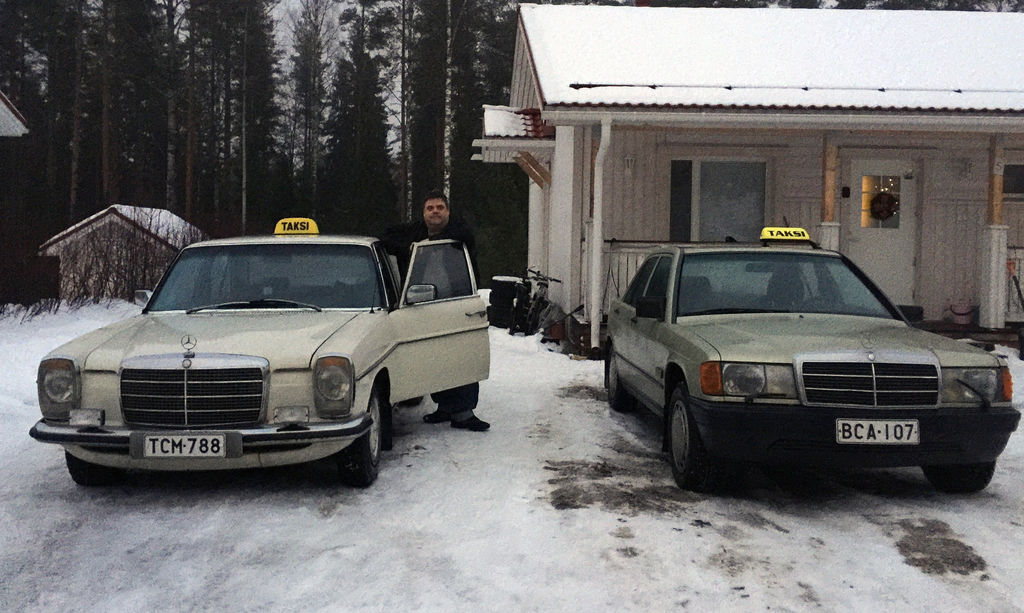 Mr. Tero Takamaa with his vintage taxis, Mercedes-Benz W 115 (1972) and W 201 (1984)