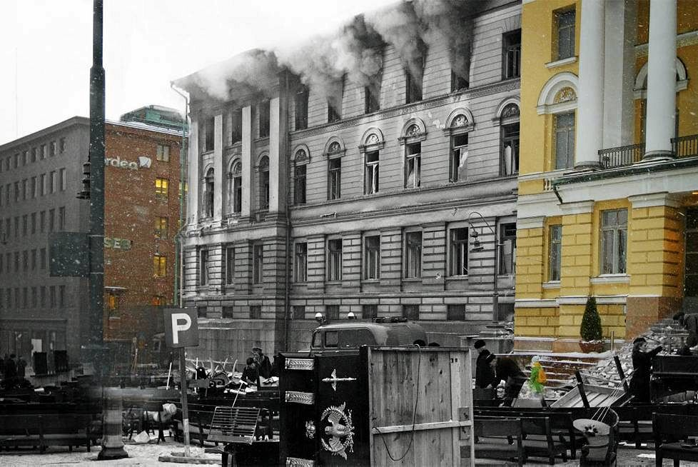 The damaged Main Building of Helsinki University on Unioninkatu, beside the senate square.