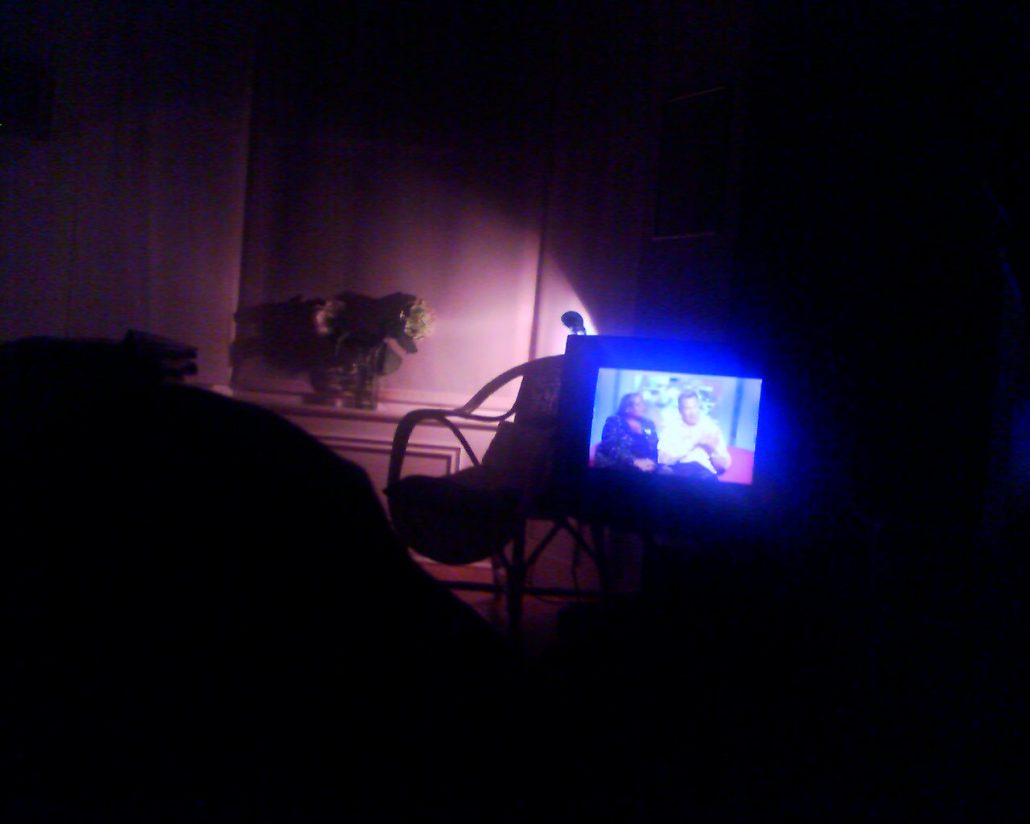 A view of a television in a dark room