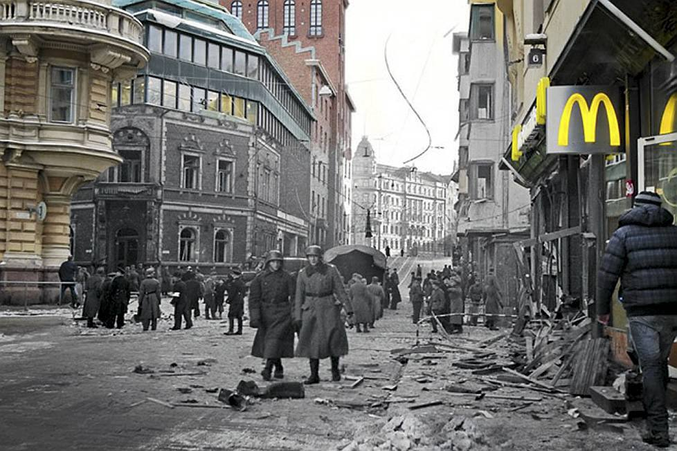 Streetscape of a bombed Yrjönkatu, Helsinki during the Contunuation war in 1944.