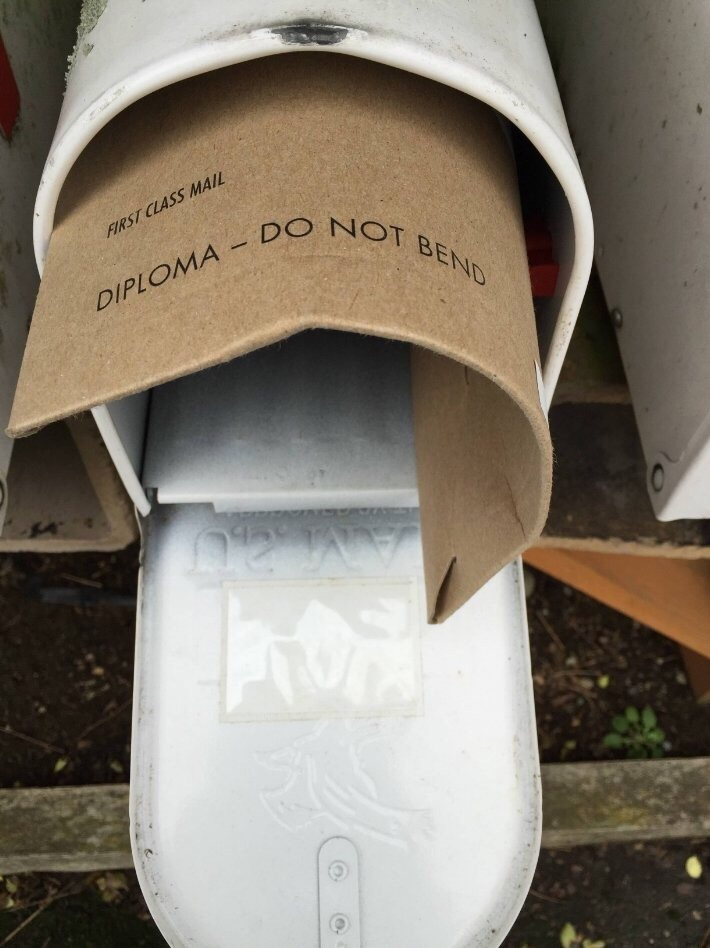 """Diploma do not bend"" labeled letter crammed into mailbox"
