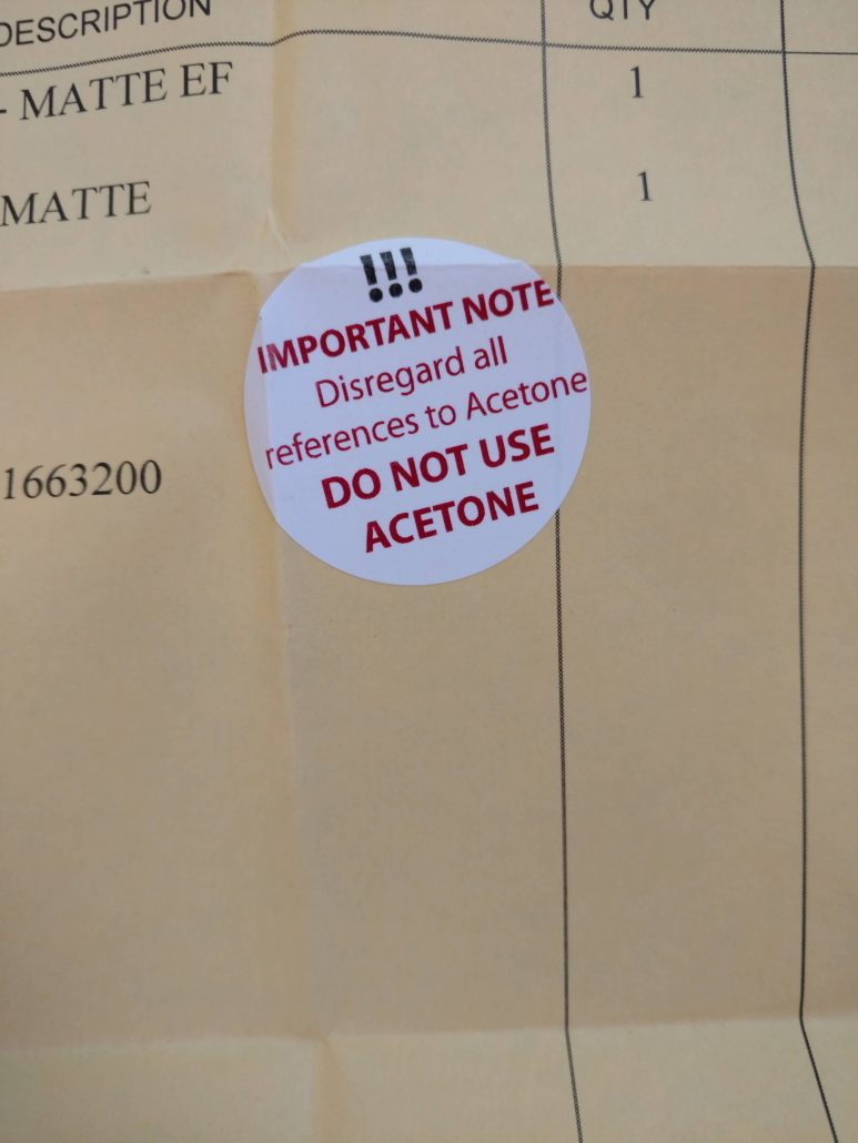 Sticker: disregard refrences to acetone