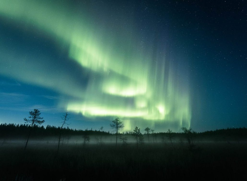 Jani Ylinampa's photo of misty Lapland terrain and northern lights
