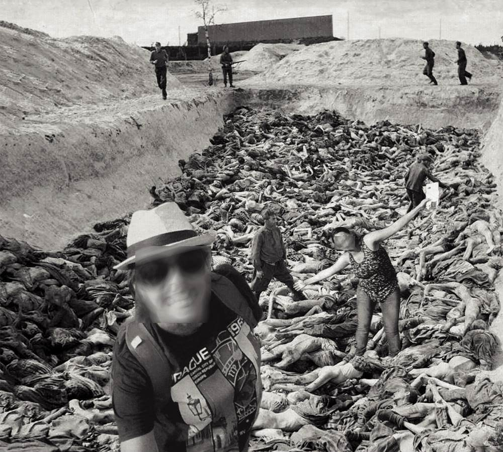 Women smiling in Holocaust mass grave