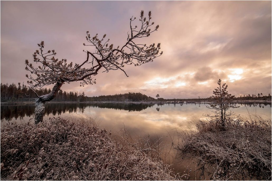 First snow: a lake view landscape photo by Finnish photographer Valtteri Mulkahainen.