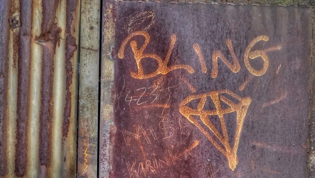 Bling graffiti and diamond on a wall