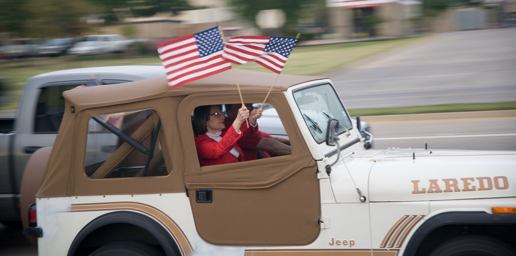 Tea Party activists driving Jeep during 2009 anti-Obama protests