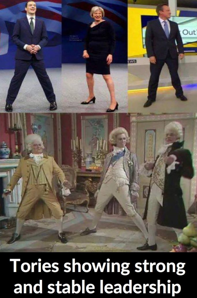 Prominent Tory politicians posing in a way similar to a silyl screenshot from Blackadder.
