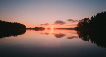 Midsummer sunset in Finnish lake landscape
