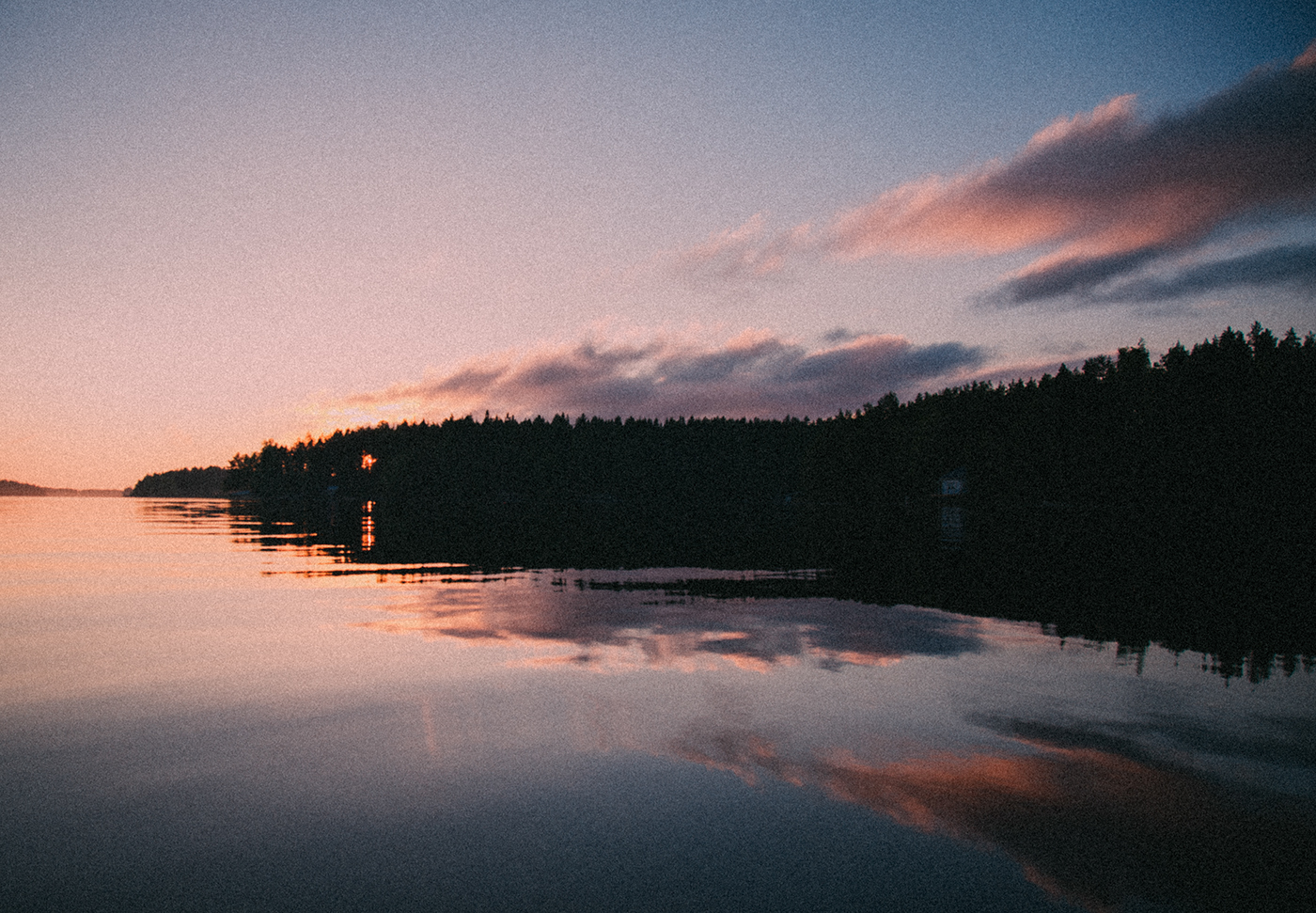 Midsummer sunset in Finnish lake lanscape