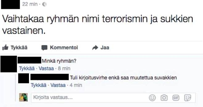 Screenshot from Finnish sock hate group on Facebook