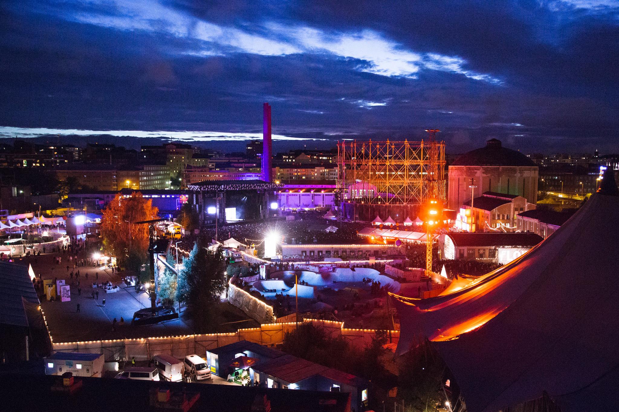 The Kallio and Sörnäinen Helsinki cityscape surrounding the urban hipster event Flow Festival