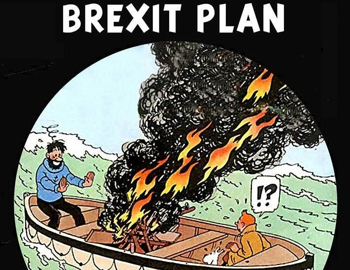 Tintin and The Brexit Plan: Captain Haddock burning oars and warming his hands in a liferaft