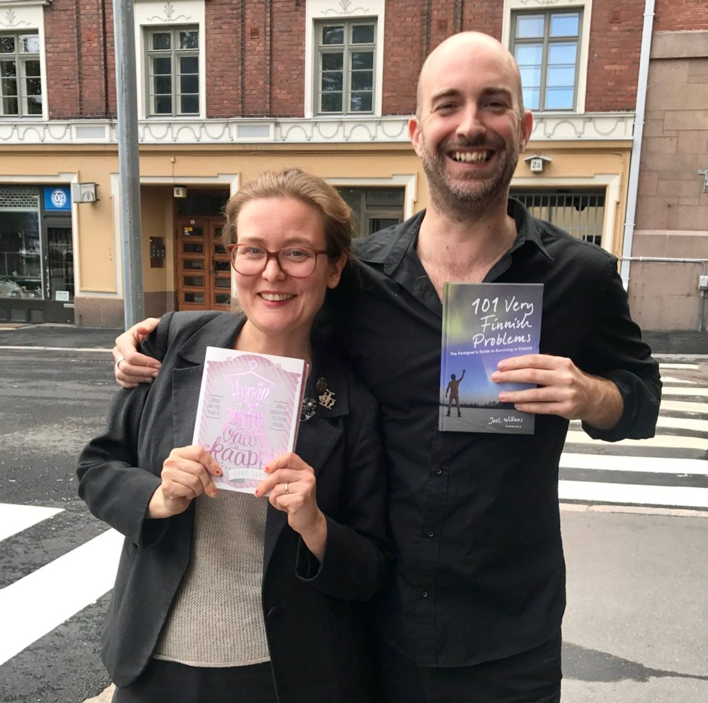Joel Willans with clothing industry activist and Finnish sci-fi author Rinna Saramäki