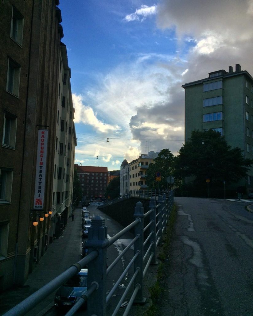 Bright fall afternoon, with a blue, slighly cloudu sky, on Pengerkatu in Kallio, Helsinki.