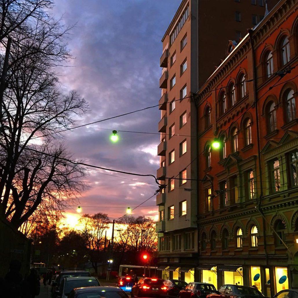 Colorful November afternoon sunset at Liisankatu in Kruununhaka, Helsinki