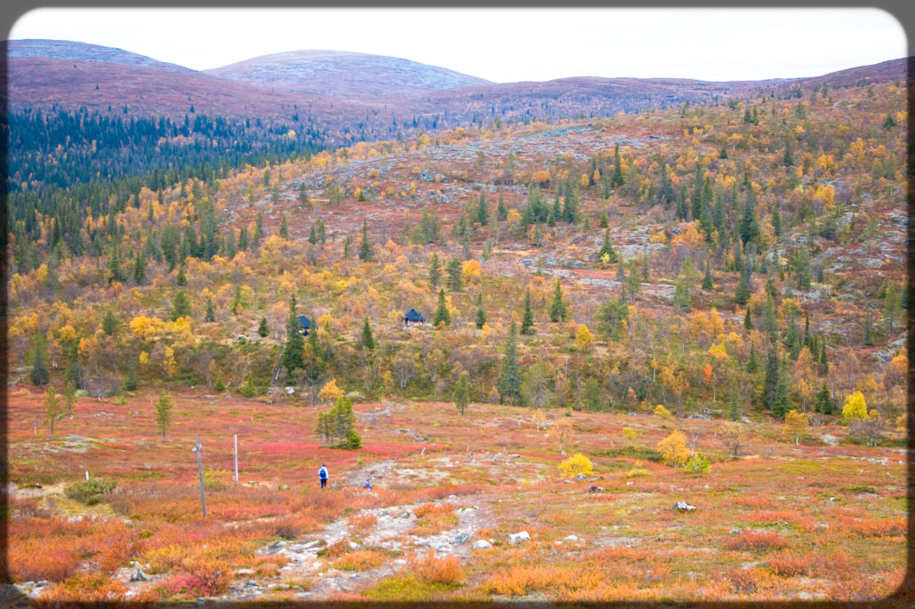 Hilly Finninsh Lapland nature in Rihmakuru, during colorful fall