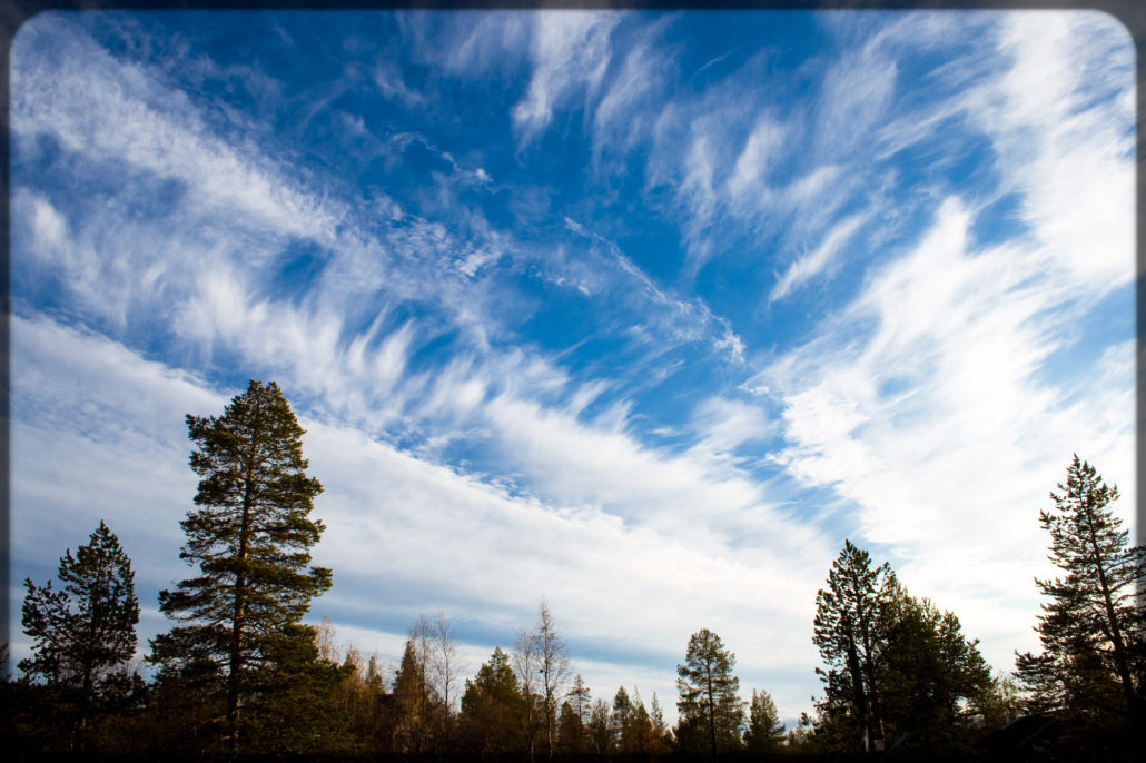 Blue autumn sky in Finland