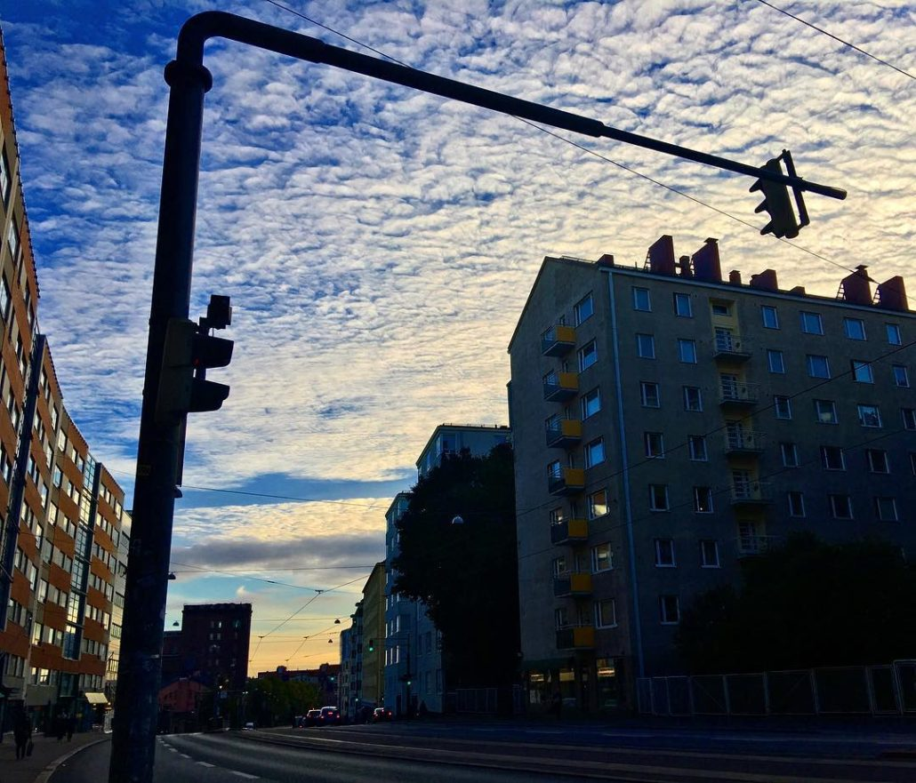 Hämeentie, Helsinki September evening streetscape. Nice contrasting clouds.