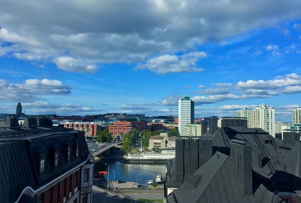 Roofscape and cityscape from Kruununhaka, Helsinki towards Merihaka and Hakaniemi in September