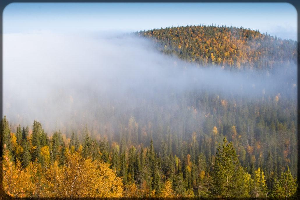 Colorful Finnish ruska autumnal view by fell Kesälaki