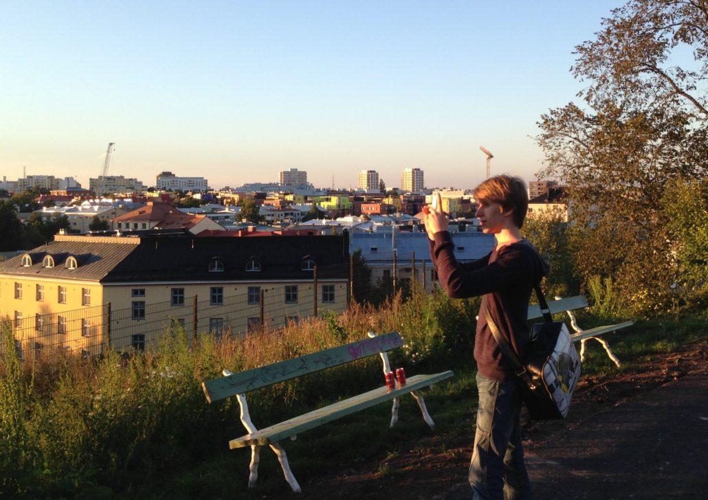 Sunny early September cityscape from Lenininpuisto with view over pasila and Alppila in the Kallio region, Helsinki