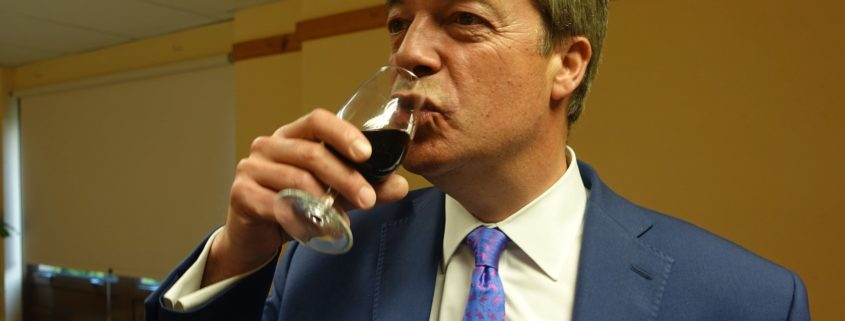 Nigel Farage having a drink in 2017