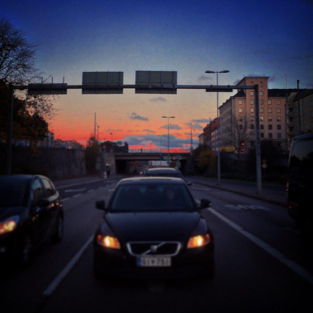 Sunset shot from Teollisuuskatu in Vallila, Helsinki
