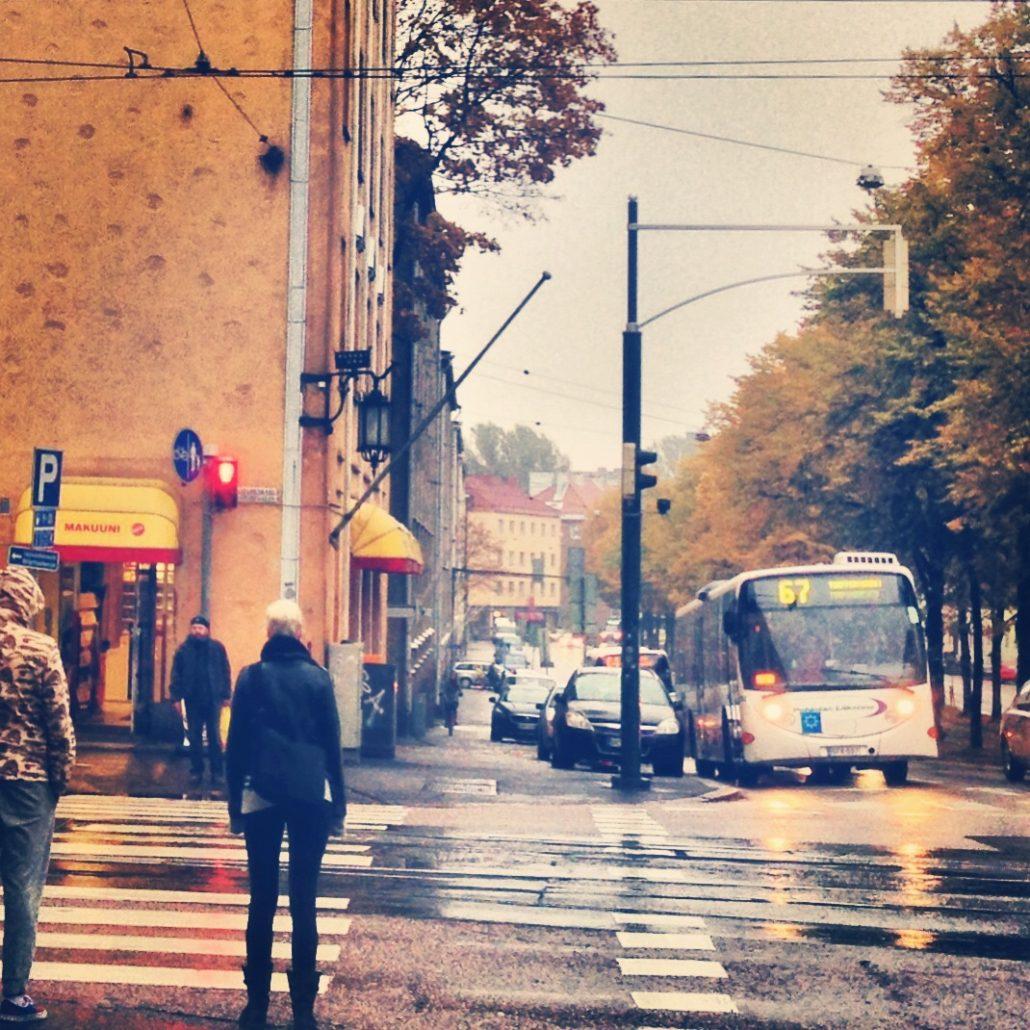 Ruska autumnal streetscape in Vallila, Helsinki at intersection of Mäkelänkatu and Sturenkatu