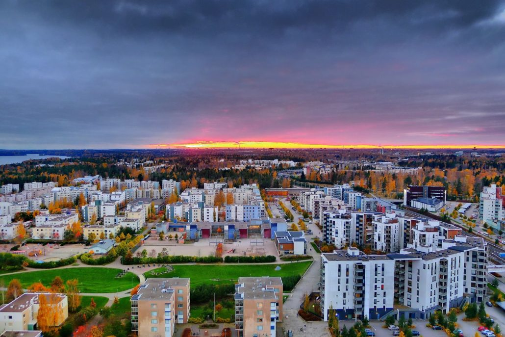 Colorful autumnal view from tower in Vuosaari, a Helsinki suburb