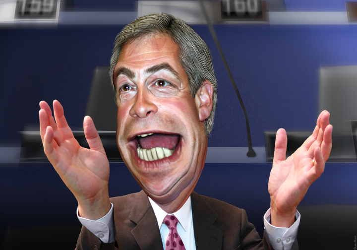 Caricature of Nigel Farage