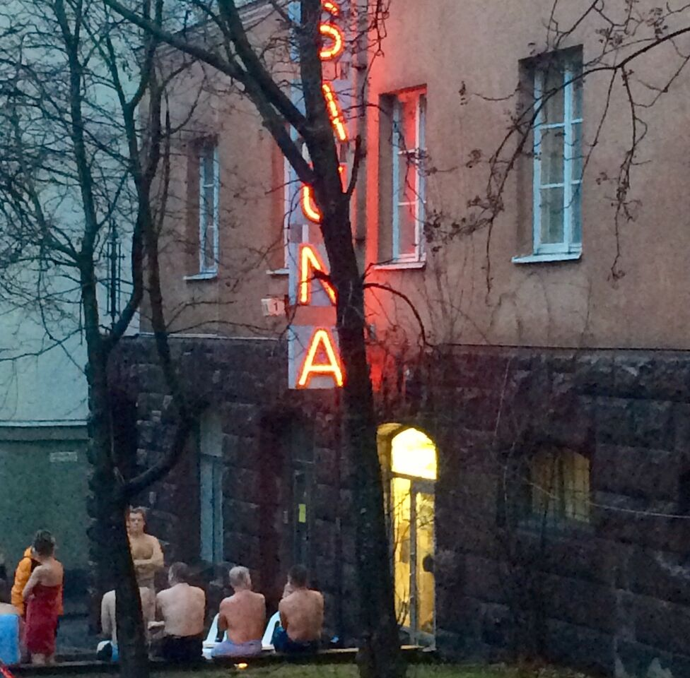 Exterior of a public sauna in Kallio, Helsinki