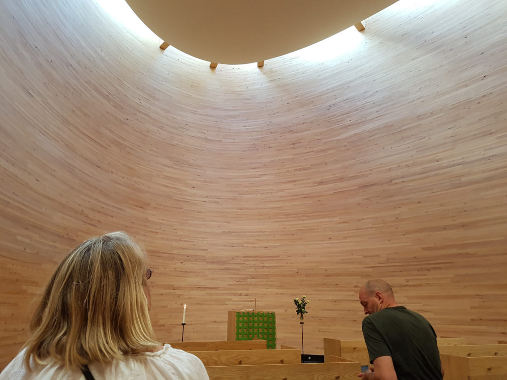 Interior of the Chapel of Silence in Kamppi, Helsinki