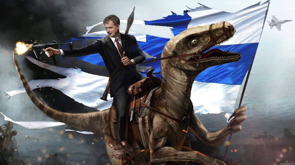 Finnish president riding velociraptor dinosaur, while firing sub machine gun