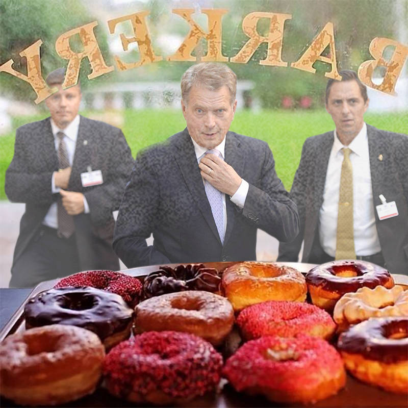 President Saili Niinistö heading for donuts in bakery display window