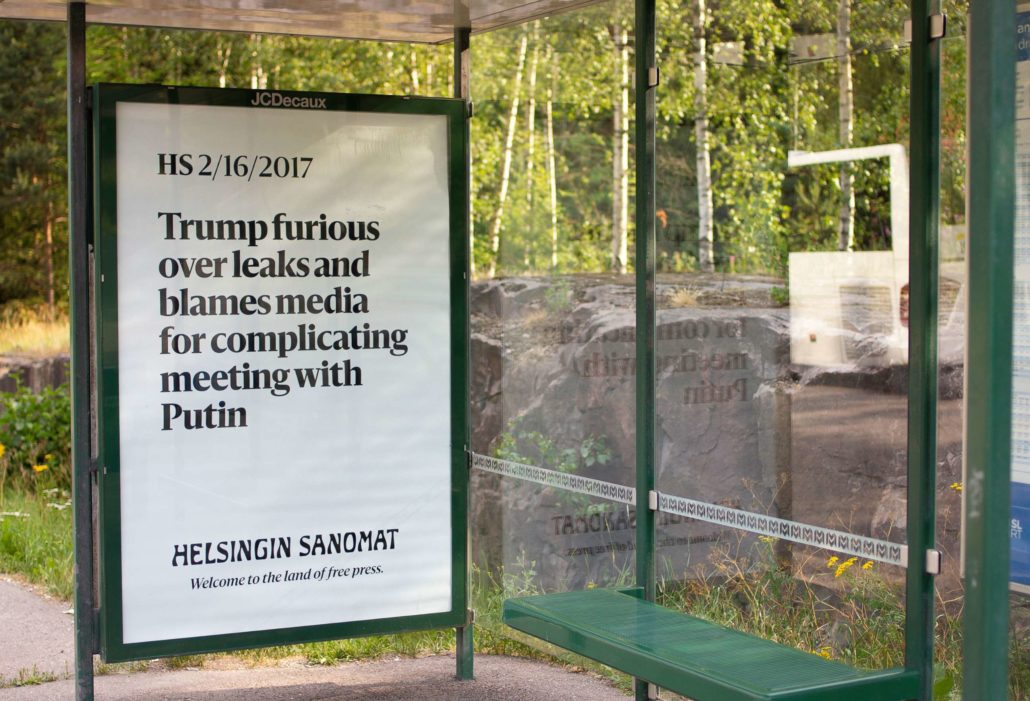 Helsingin Sanomat's billboard during Trump Putin summit: Trump Furious Over Leaks