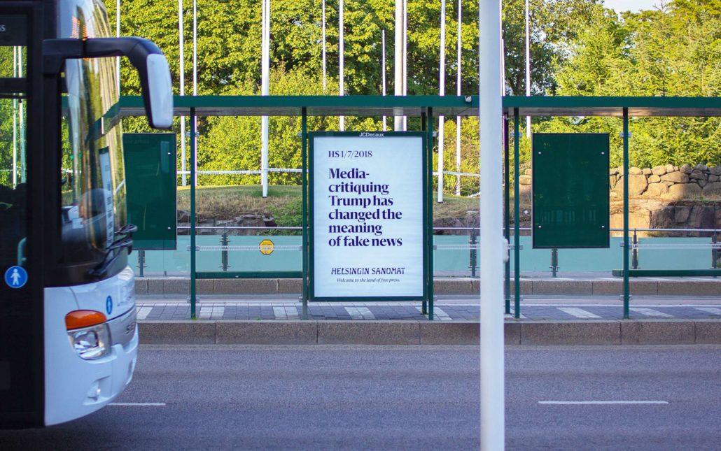 Helsingin Sanomat's billboard during Trump Putin summit: Media-critiquing Trump