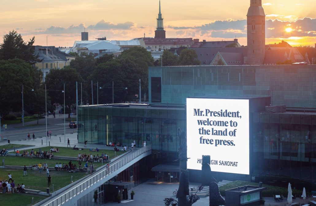 Helsingin Sanomat's billboard during Trump Putin summit: Welcome to the land of free press