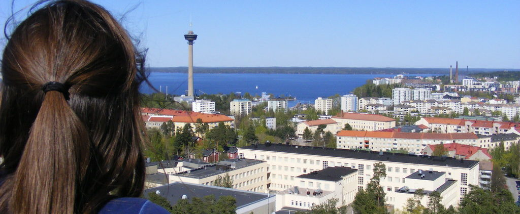 Views towards Näsineula tower in Tampere, summer 2009