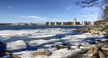 Aurinkolahti, in the Helsinki suburb Vuosaari photographed from Uutela, spring 2019